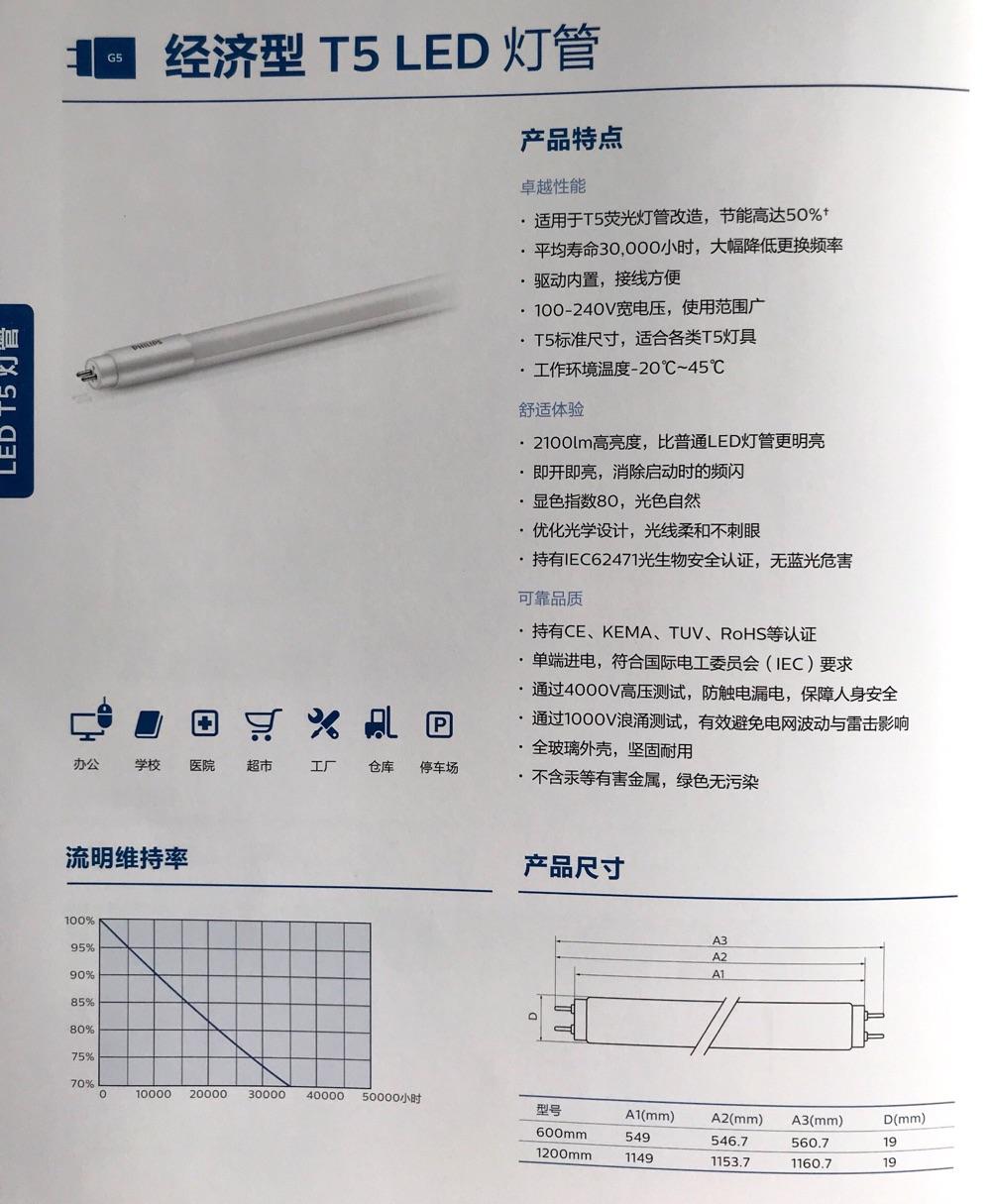 飞利浦经济型 T5 LED 灯管