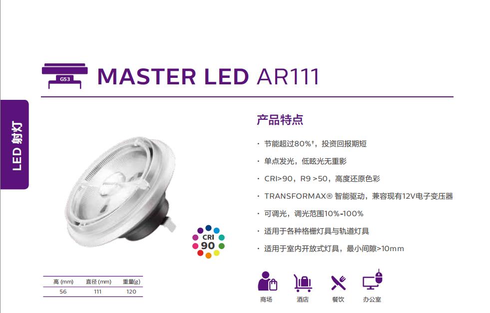 飞利浦 MASTER LED AR111铝杯