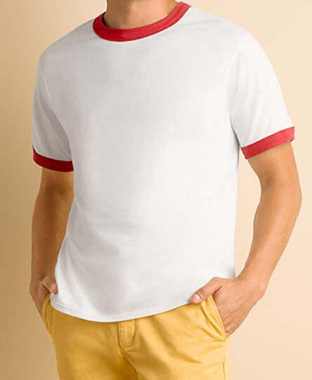 180G撞色领T恤展示