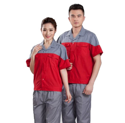 水洗磨毛夏季短袖工作服厂家订制(1831-红款)