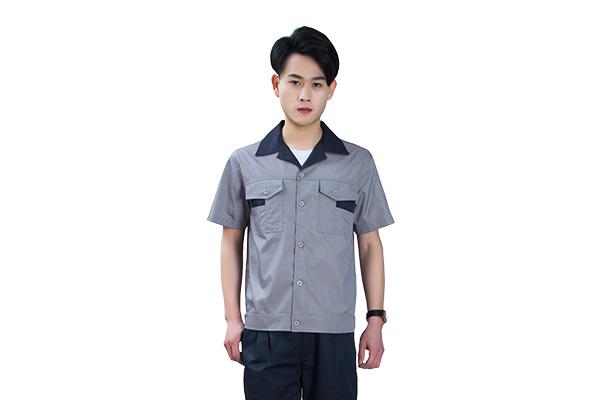 夏季涤棉短袖灰色工作服套装定做(8303款)