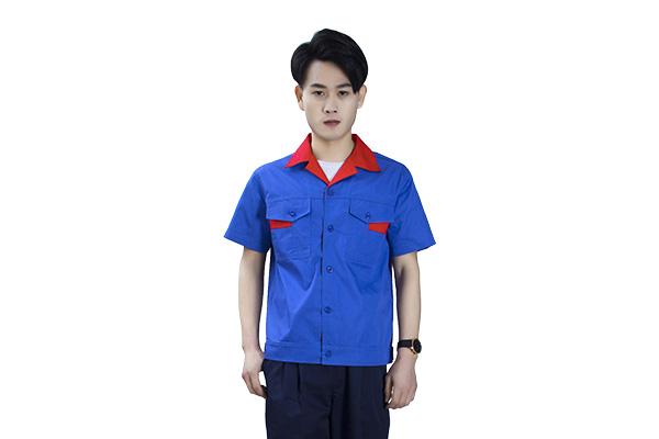夏季涤棉短袖宝蓝色工作服套装定做(8313款)