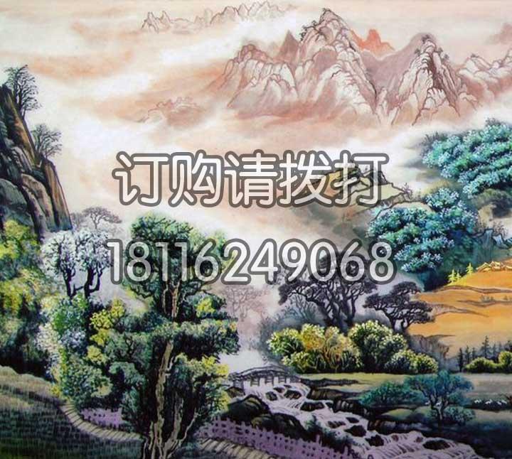 色彩丰富的山水墙布SS-010