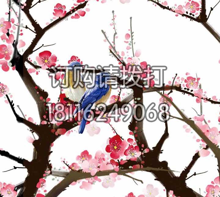 鸟语花香巨幅电脑手绘墙布SH-006