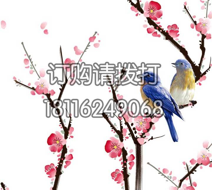 鸟语花香电脑手绘无缝墙布SH-007