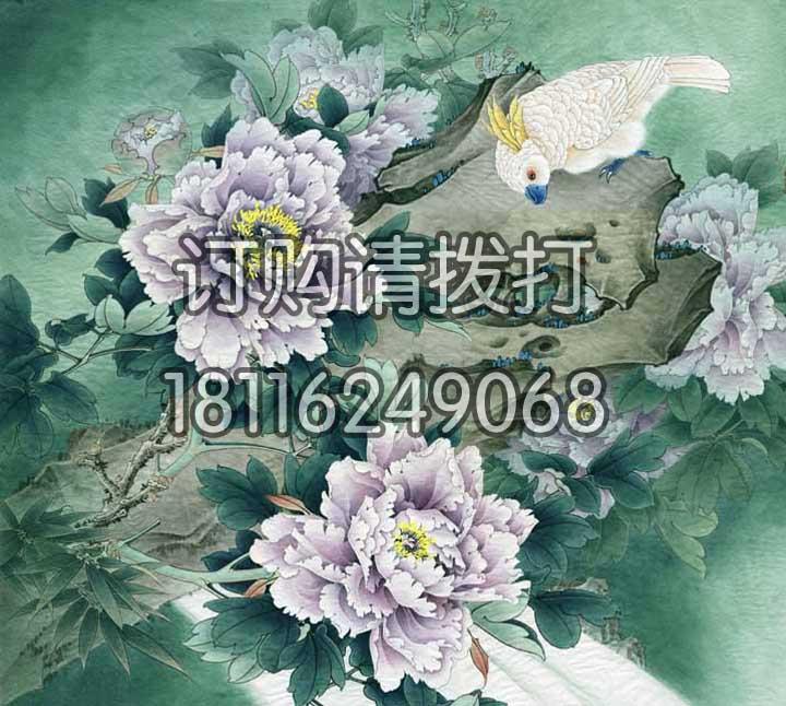 鹦鹉电脑手绘背景画墙布SH-011