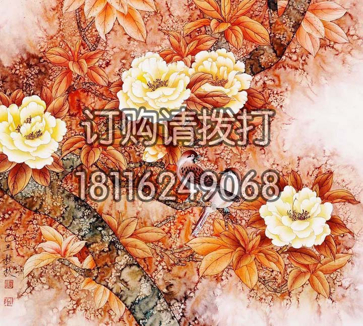 精美橙色花鸟无缝墙布HN-001