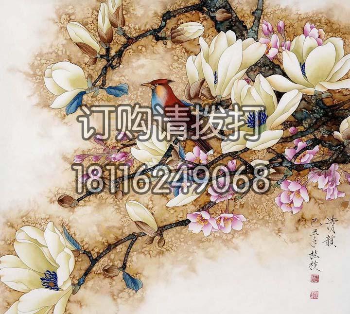清韵桂枝花鸟无缝墙布HN-004