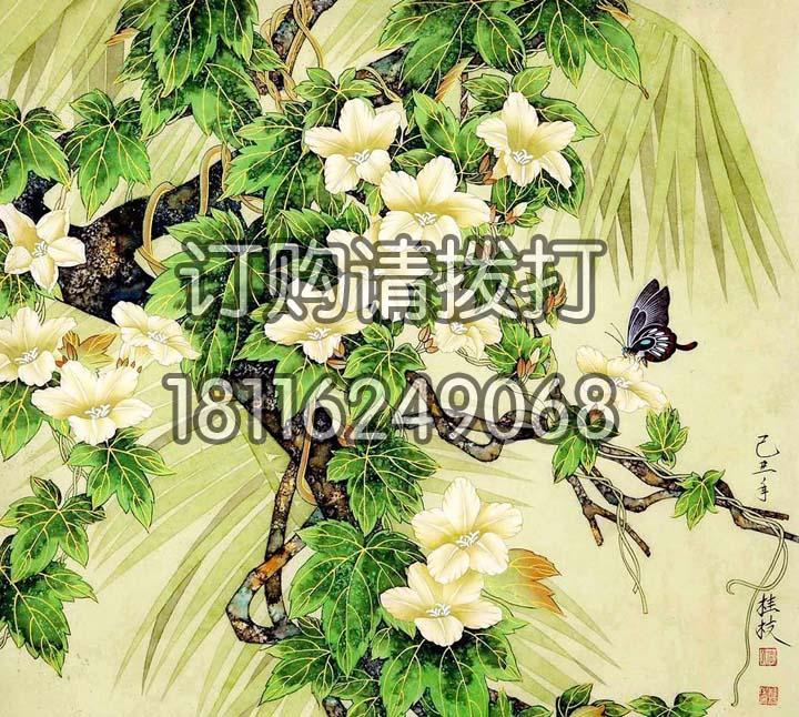 桂枝花鸟无缝墙布HN-005