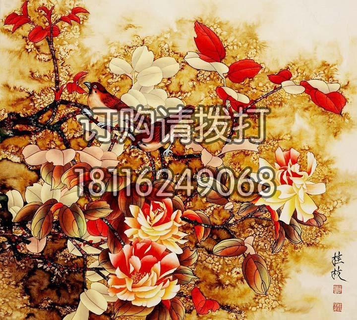 橙红色花鸟背景画无缝墙布HN-007