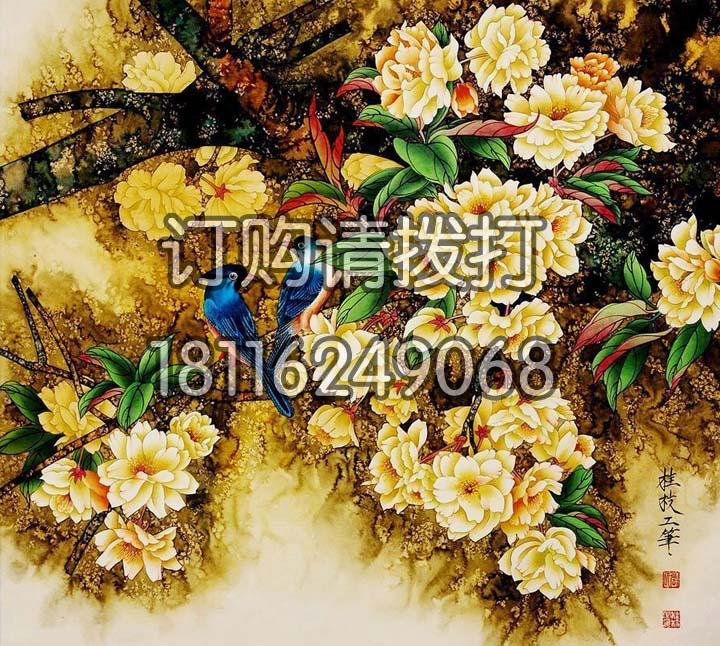 桂枝工笔花鸟无缝墙布HN-006