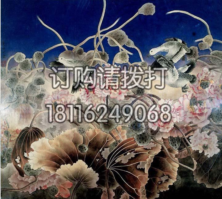 秋莲水墨花鸟无缝墙布HN-012