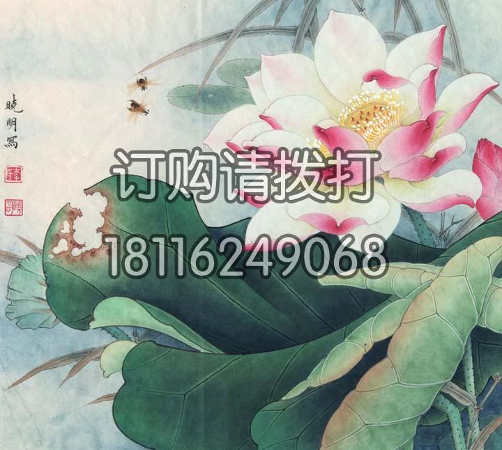 精美工笔莲花花鸟无缝墙布HN-015