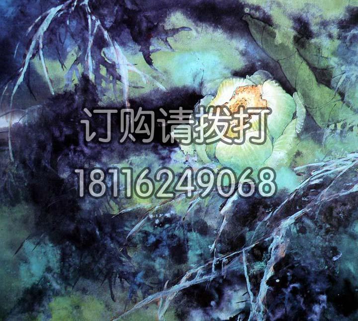 蓝色莲花花鸟无缝墙布HN-016