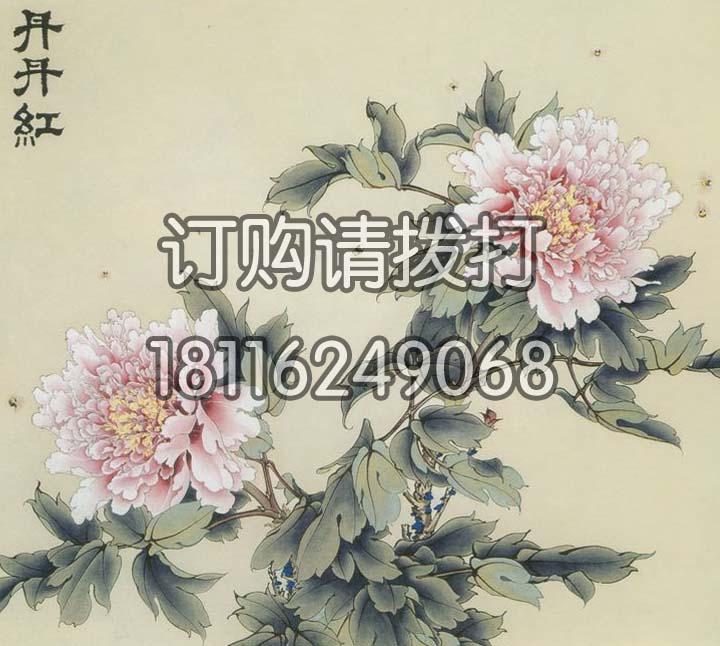 丹丹红花鸟背景画墙布HN-017