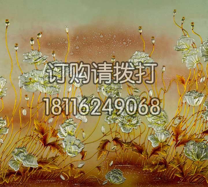 金色水仙花浮雕无缝墙布...