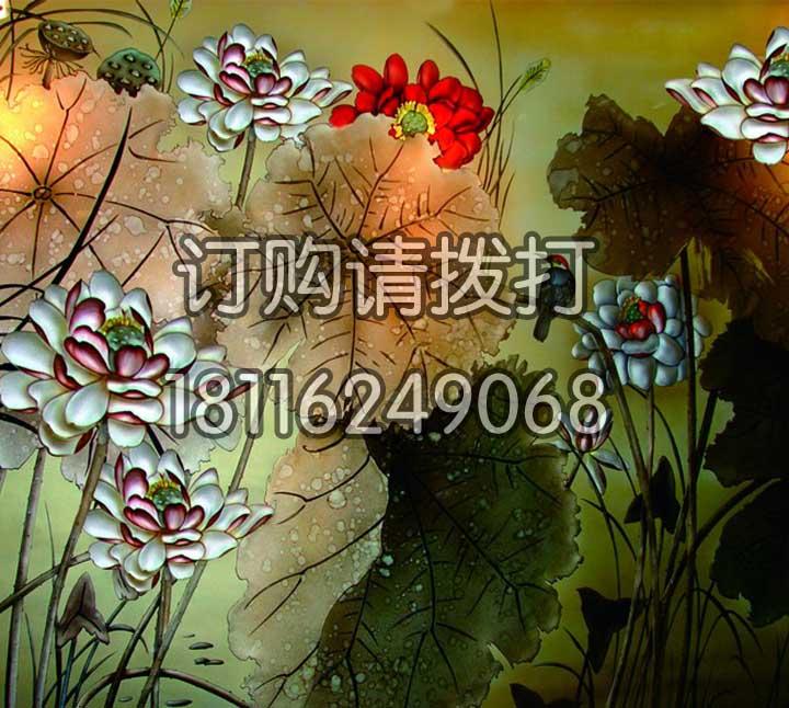 精致荷花浮雕背景画墙布FD-007