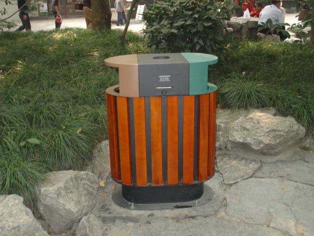 鋼木雙桶垃圾桶XB4-003