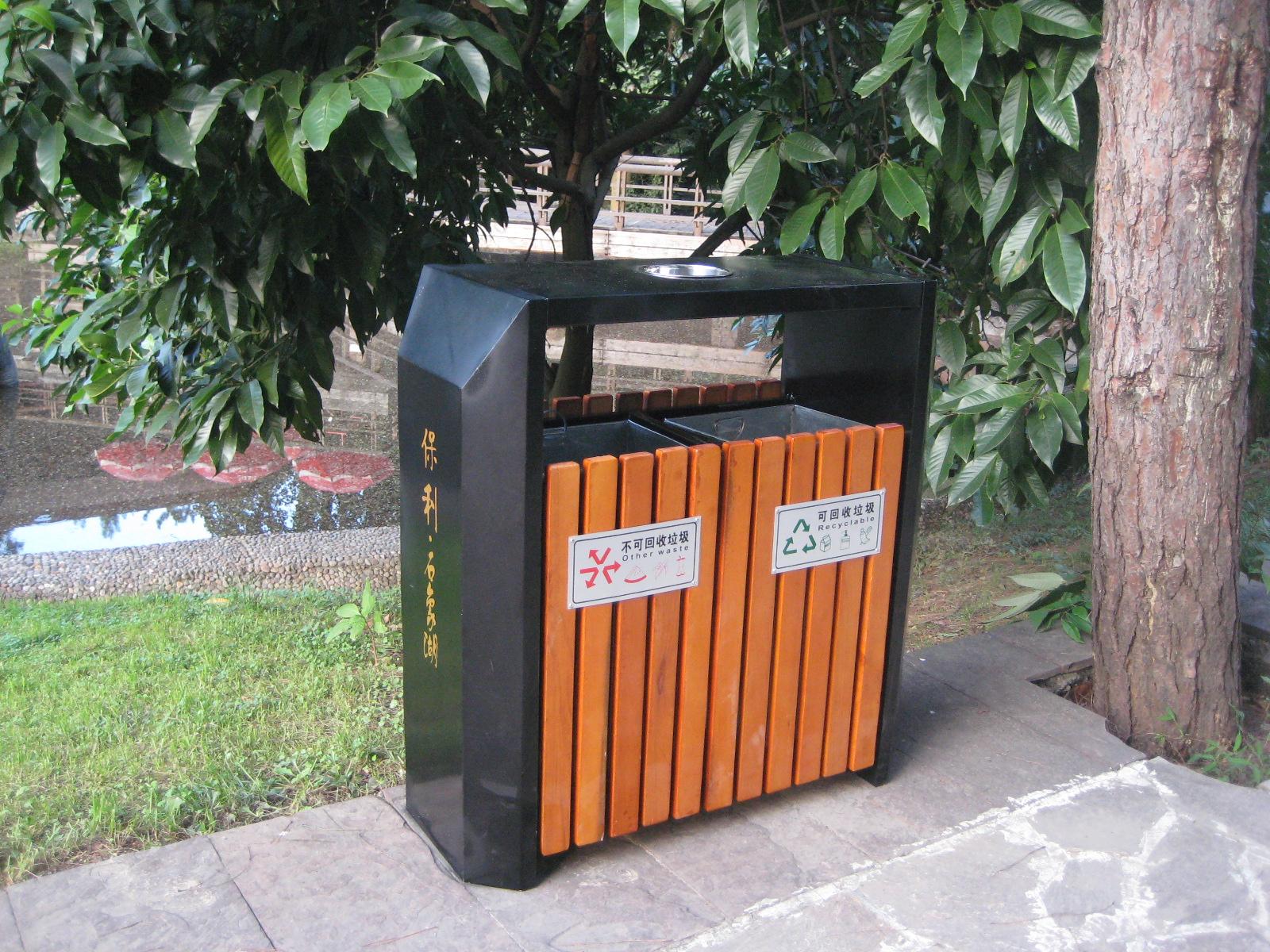鋼木雙桶垃圾桶XB4-010