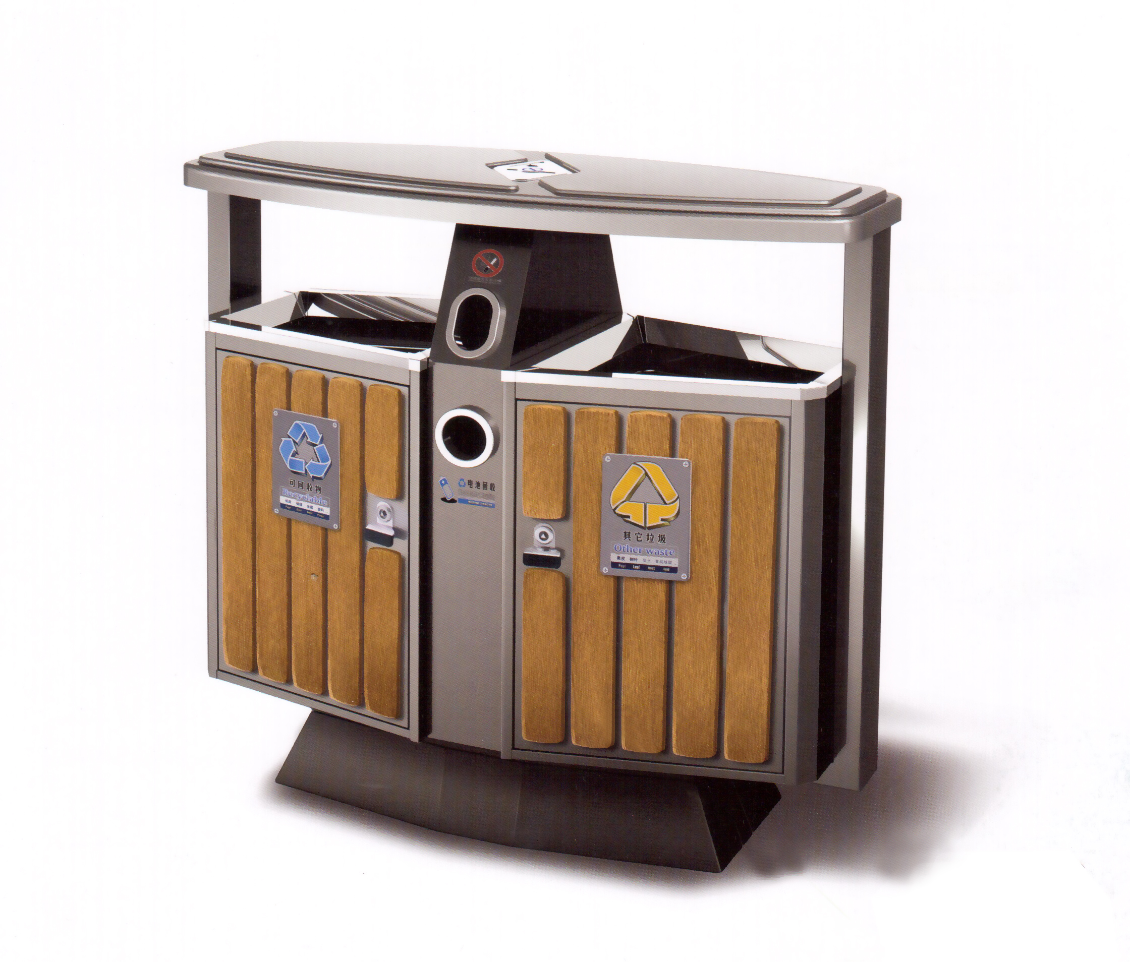 鋼木雙桶垃圾桶XB4-029