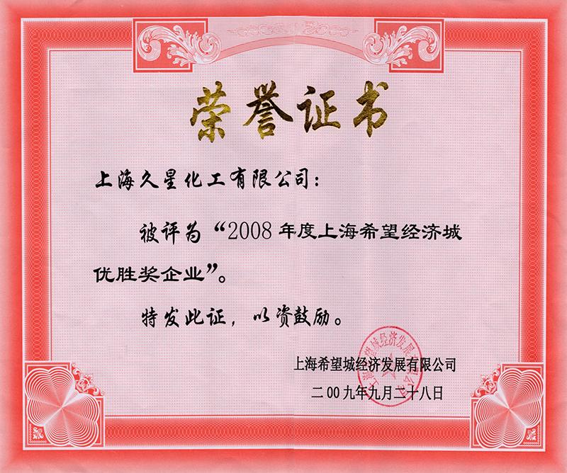 2009年優勝獎企業-證書