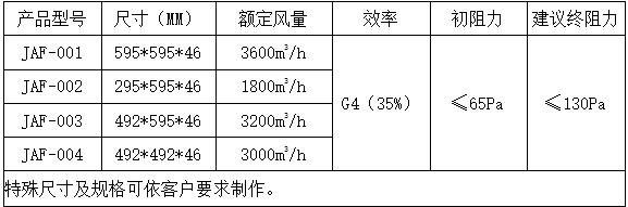铝框初效板式过滤器规格