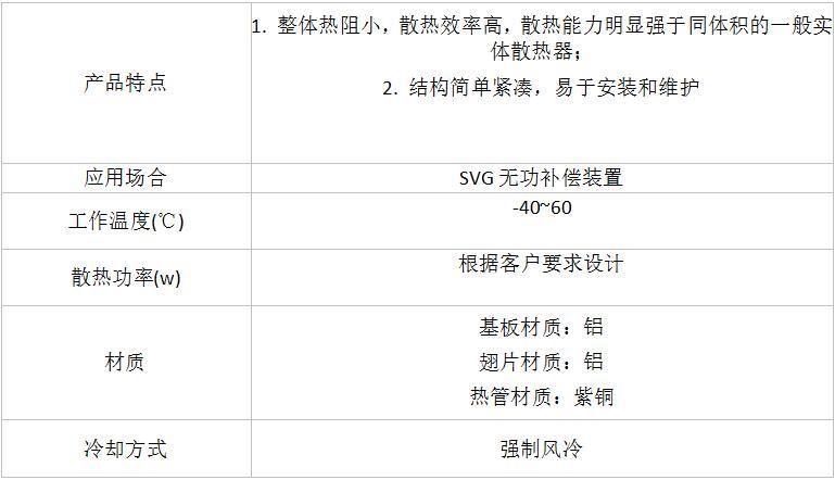 SVG无功补偿装置用热管散热器参数