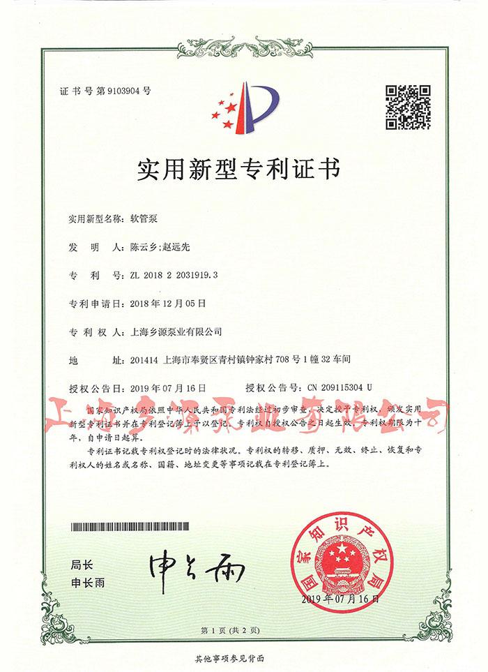 乡源软管泵专利证书