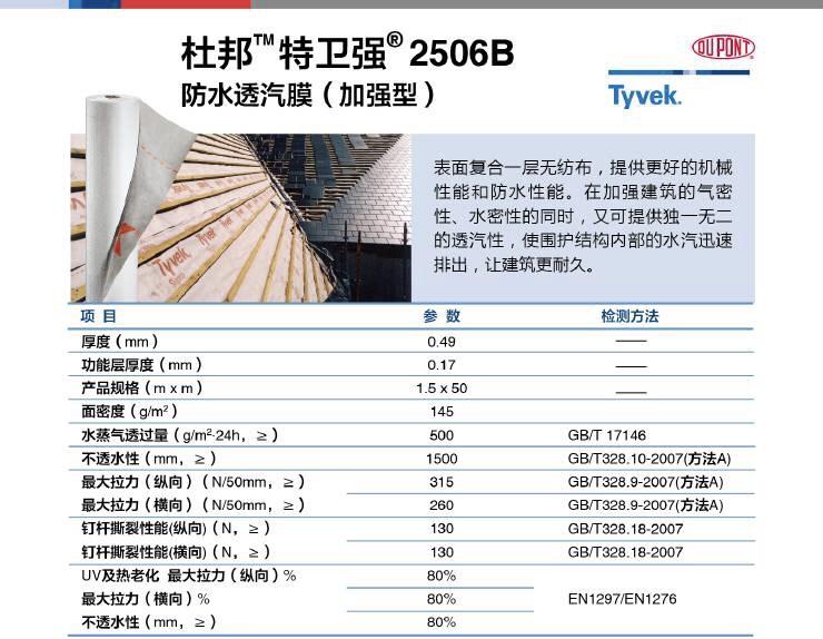 杜邦特卫强透汽膜2506B