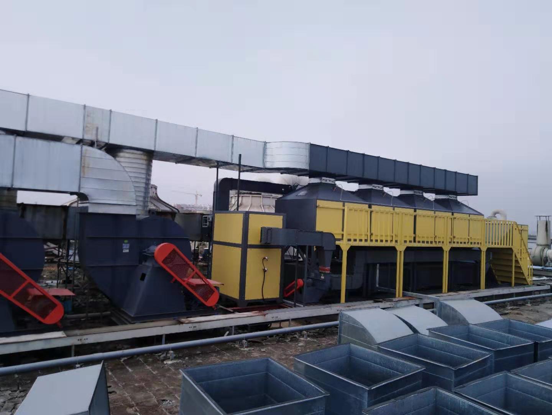 广州添利集团50000风量喷涂废气活性炭吸脱附催化燃烧设备安装调试完成运行中