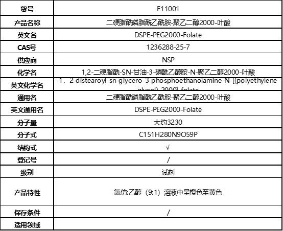 二硬脂酰磷脂酰乙酰胺-聚乙二醇2000-叶酸