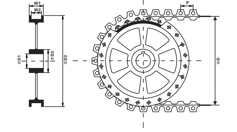 橡胶链条连续式提升机驱动轮示意图
