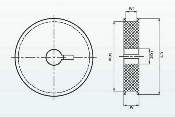 橡胶链条连续式提升机被动轮示意图