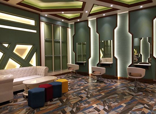 竹木纤维墙板装修发廊案例