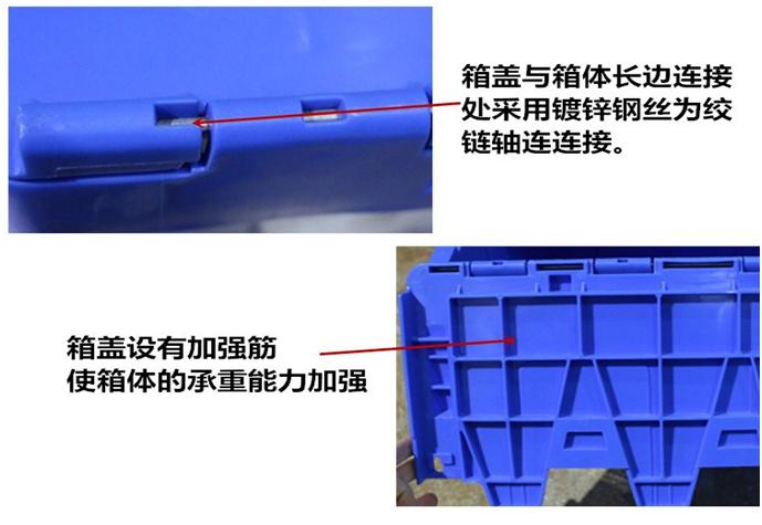 斜插物流箱的箱盖与箱体长边连接处采用镀锌钢丝为铰链轴连连接,箱盖设有加强筋使箱体的承重能力加强