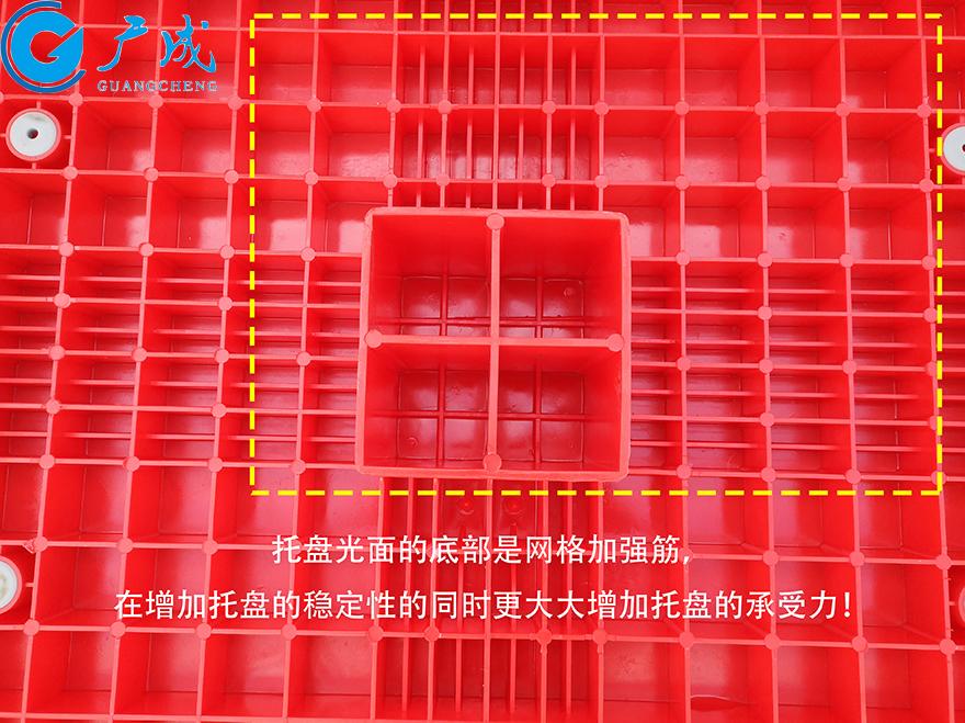 1210A平板九脚塑料托盘反面特写
