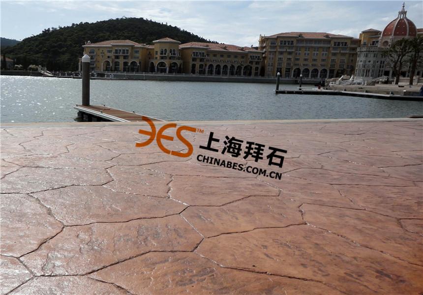 湖南橘子洲头彩色艺术压印混凝土案例