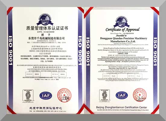 ISO9001:2008 quality management system..