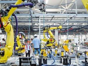 Robot automatic welding production line