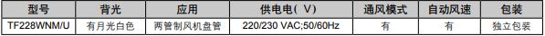 TF228WNMU 联网型温控器订货型号