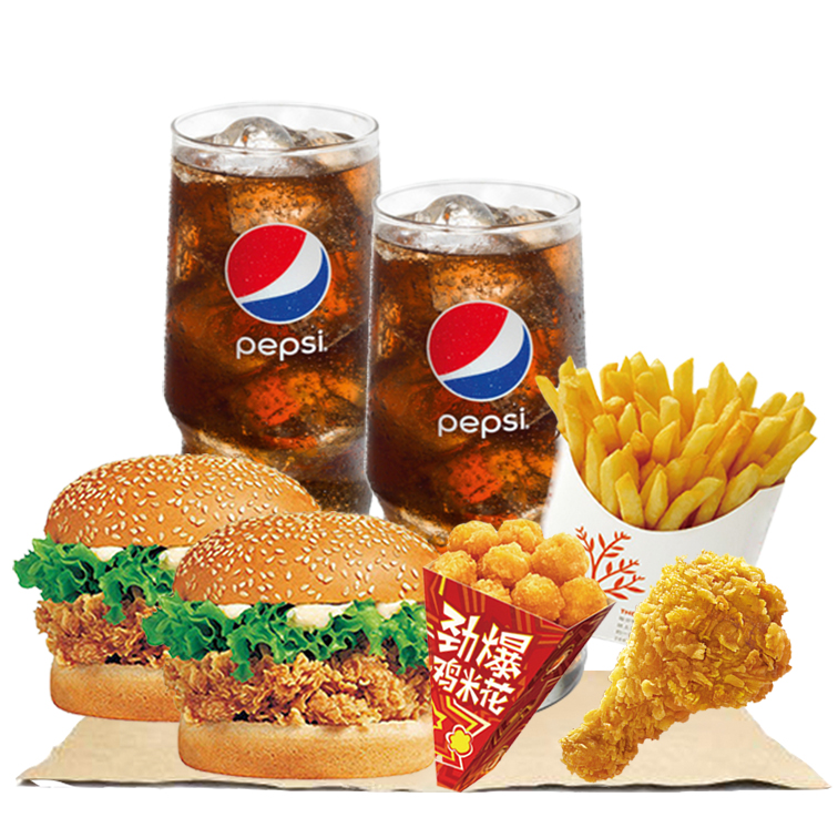 辣堡2个+鸡腿+鸡米花+薯条+可乐2个