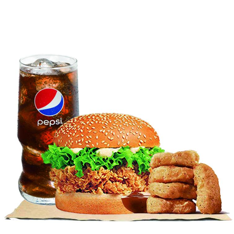 辣堡+上校鸡块+可乐