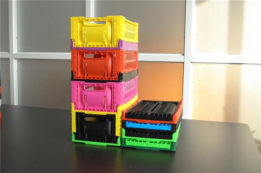 3212折疊周轉筐多款顏色展開折疊堆碼對比