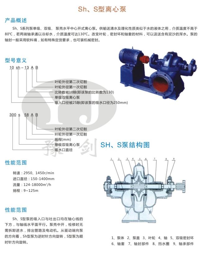SH,S型离心泵