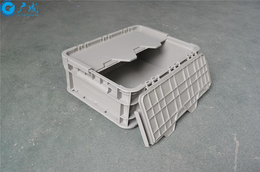 43148翻盖物流箱展开单面盖子