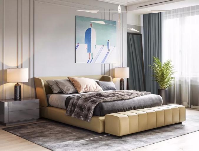 现代简约卧室装修样式—青海梵筑装饰工程有限公司
