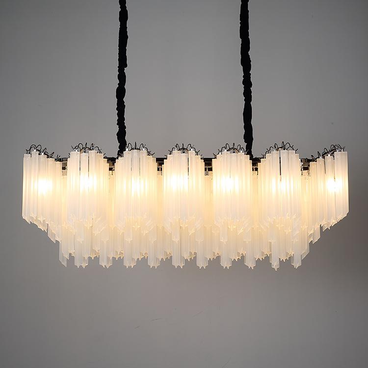 ASA-17965磨砂玻璃棒黑金吊灯