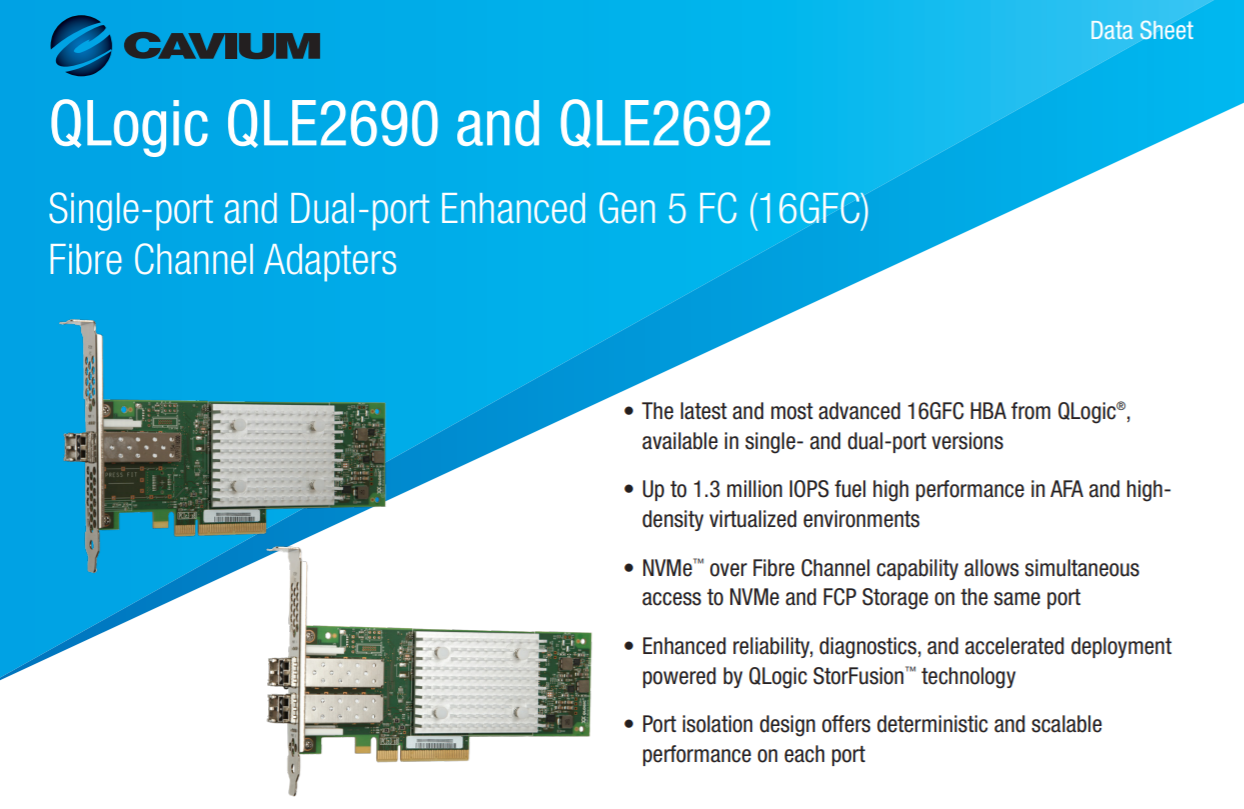 QLogic光纖卡型號列表