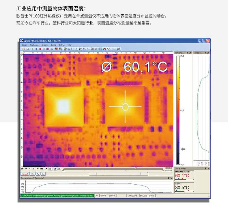 欧普士PI160红外热像仪广泛用在的物体表面温度分布监控场合