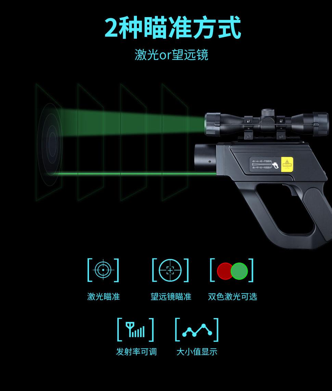 欧普士便携式高温金属红外测温仪P20的2种瞄准方式:激光瞄准和望远镜瞄准,同时有双色激光可选